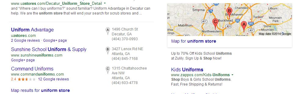 Google Plus Local Search result